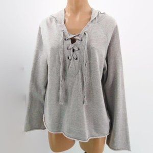 Sanctuary Gray Hoodie Knit Top Shirt L Lace  Up Fr